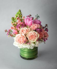 pink tulips, pink roses, white hydrangea, pink carnations, pink stock, curly willow