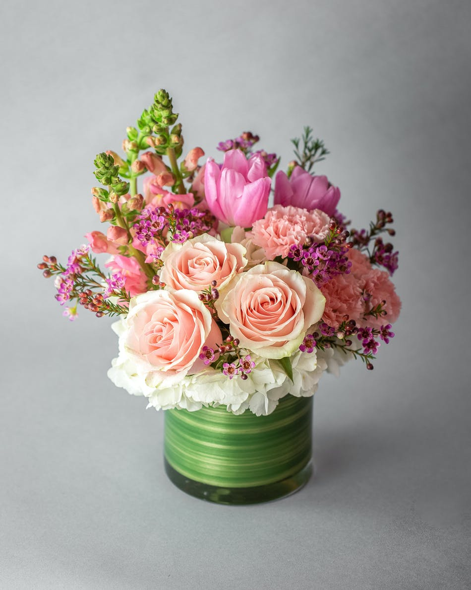 Pink Tulips Roses White Hydrangea Carnations Stock Curly