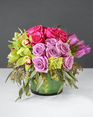 Exotic Orchids tulips & hydrangea - Modern Leaf-lined Vase - Orlando, FL Florist - In Bloom Florist