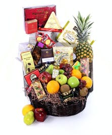 Fruit Basket with an assortment of mixed fresh fruit and healthy gourmet snacks