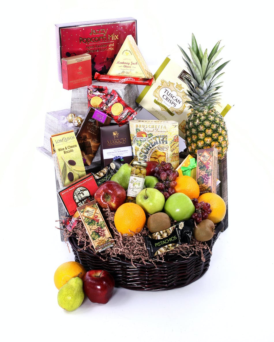 In Blooms Fruit Gourmet Basket With An Assortment Of Mixed Fresh And Healthy Snacks