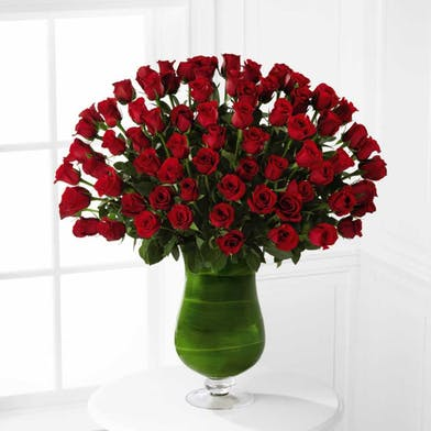 Six dozen red roses exquisitely arranged in a pillow vase.