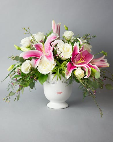 selfie, roses, white roses, lily, lilies, pink lilies, airplant, wax flower, eucalyptus, lisianthus