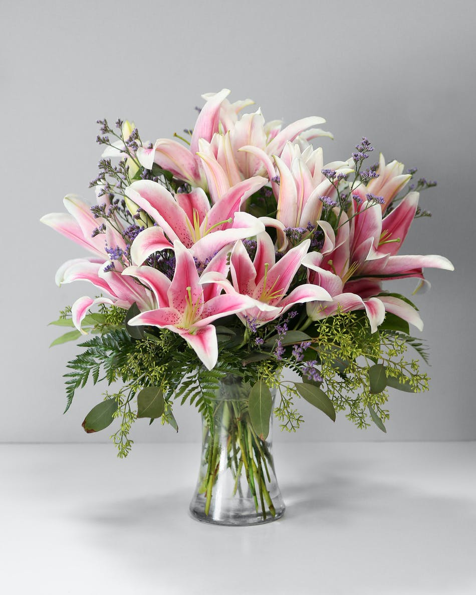 Enchanting Stargazer Lilly Arrangement Orlando Fl Same Day Delivery