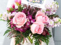 A lovely pink and purple floral arrangement